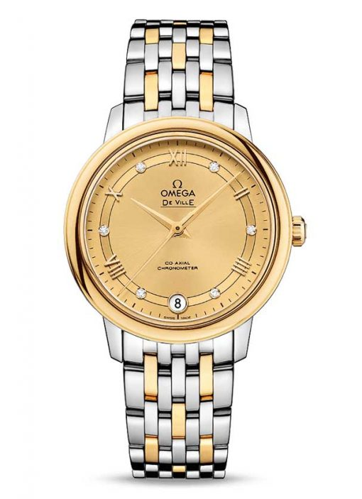 Omega De Vile Prestige Co-Axial 18K Yellow Gold & Stainless Steel Ladies Watch, 424.20.33.20.58.002