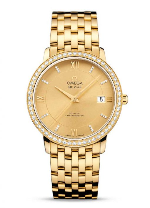 Omega De Vile Prestige Co-Axial 18K Yellow Gold & Diamonds Men's Watch, 424.55.37.20.58.001