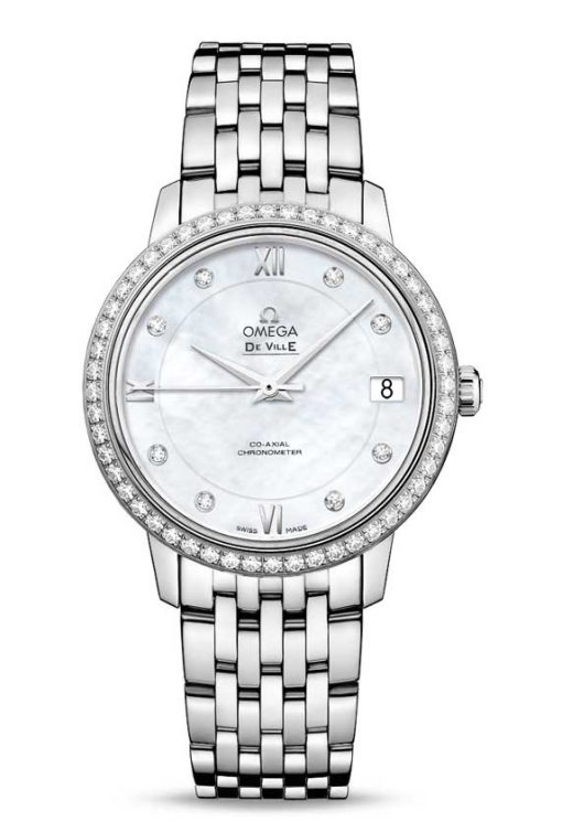 Omega De Vile Prestige Co-Axial 18K White Gold & Diamonds Ladies Watch, 424.15.33.20.55.001