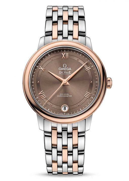 Omega De Vile Prestige Co-Axial 18K Red Gold & Stainless Steel Ladies Watch, 424.20.33.20.13.001