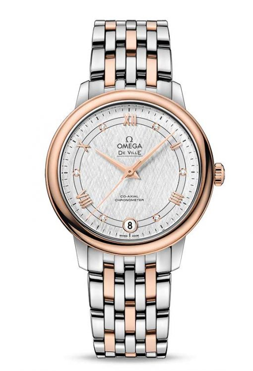 Omega De Vile Prestige Co-Axial 18K Red Gold & Stainless Steel Ladies Watch, 424.20.33.20.52.002