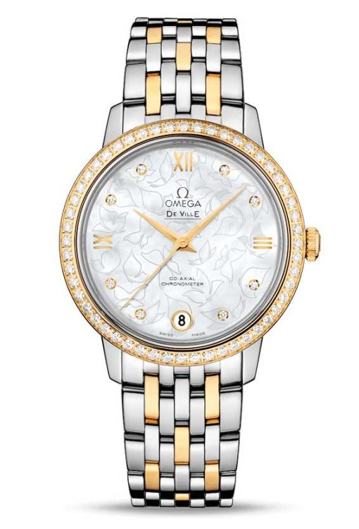 "Omega De Vile Prestige Co-Axial ""Butterfly"" Stainless Steel & 18K Red Gold & Diamonds Ladies Watch, 424.25.33.20.55.004"