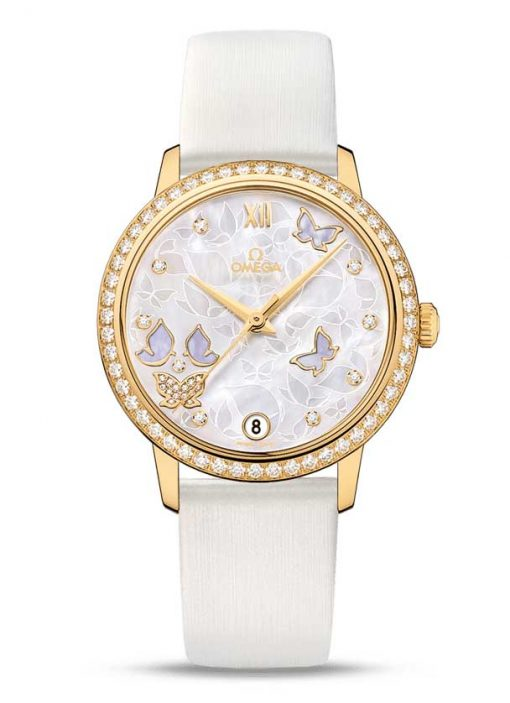 "Omega De Vile Prestige Co-Axial ""Butterfly"" 18K Yellow Gold & Diamonds Ladies Watch, 424.57.33.20.55.003"