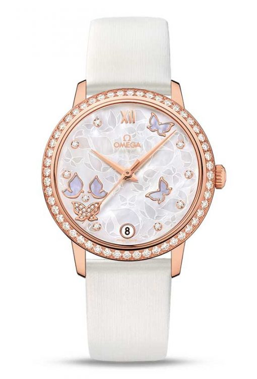 "Omega De Vile Prestige Co-Axial ""Butterfly"" 18K Red Gold & Diamonds Ladies Watch, 424.57.33.20.55.002"