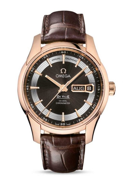 Omega De Vile Hour Vision Co-Axial Master Annual Calendar 18K Red Gold Men's Watch, 431.63.41.22.13.001