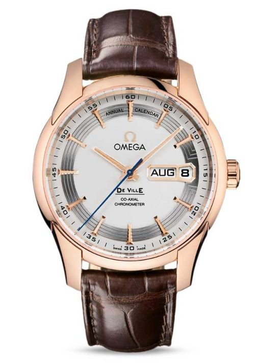 Omega De Vile Hour Vision Co-Axial Master Annual Calendar 18K Red Gold Men's Watch, 431.63.41.22.02.001