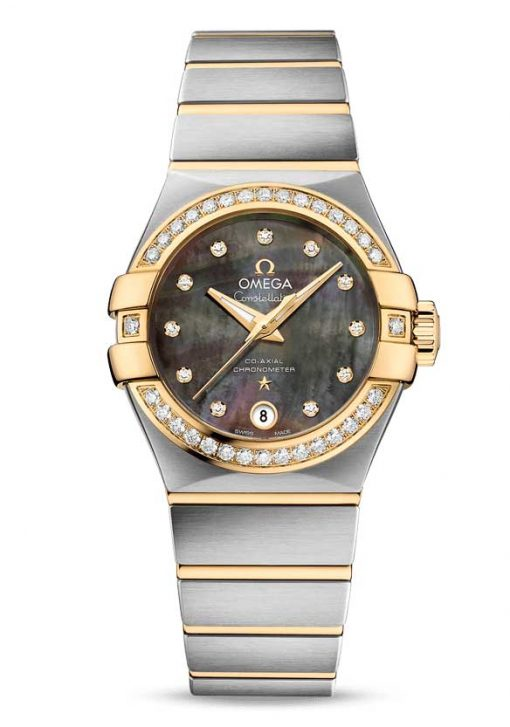 Omega Constellation Tahiti Co-Axial Stainless Steel & 18K Yellow Gold & Diamonds Ladies Watch, 123.25.27.20.57.007