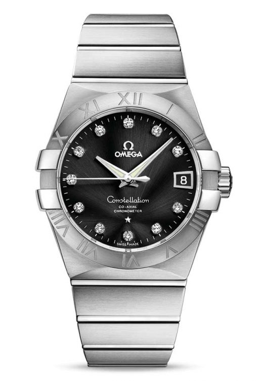 Omega Constellation Co-Axial Stainless Steel & Diamonds Unisex Watch, 123.10.38.21.51.001