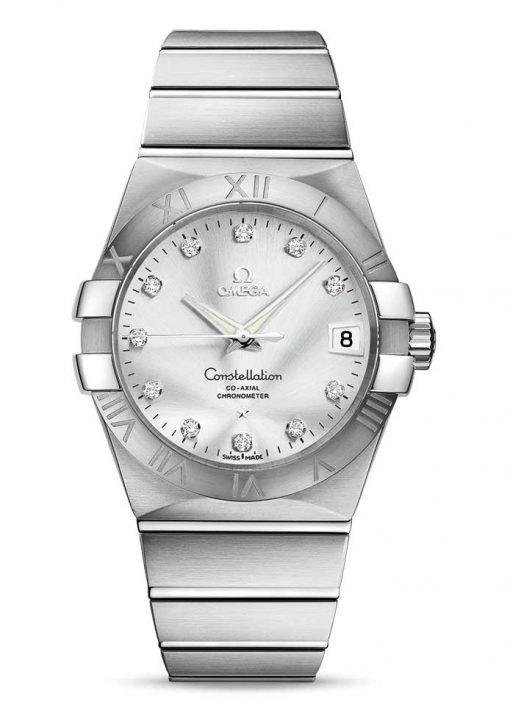 Omega Constellation Co-Axial Stainless Steel & Diamonds Unisex Watch, 123.10.38.21.52.001