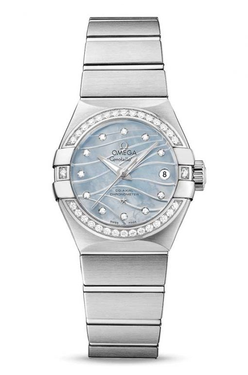 Omega Constellation Co-Axial Stainless Steel & Diamonds Ladies Watch, 123.15.27.20.57.001