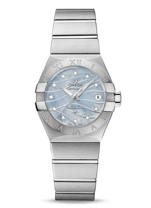 Omega Constellation Co-Axial Stainless Steel & Diamonds Ladies Watch, 123.10.27.20.57.001