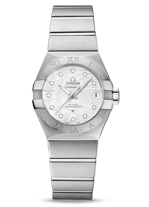 Omega Constellation Co-Axial Stainless Steel & Diamonds Ladies Watch, 123.10.27.20.55.002