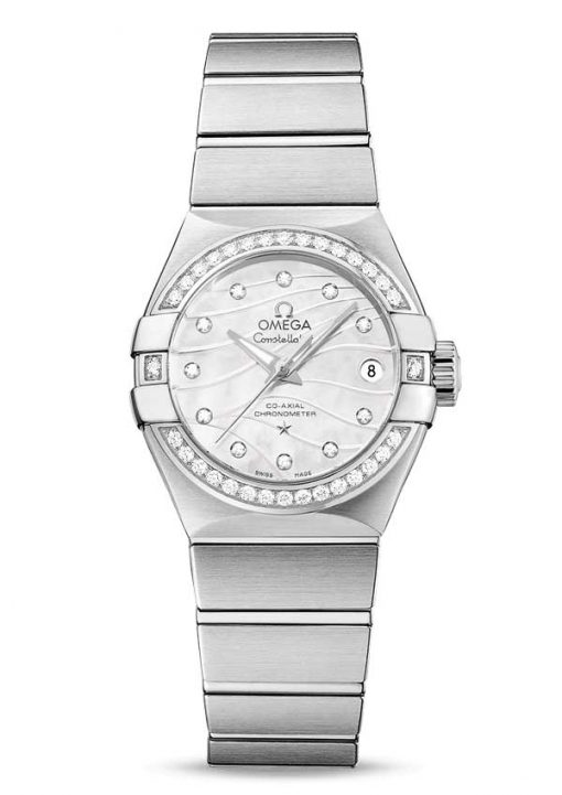 Omega Constellation Co-Axial Stainless Steel & Diamonds Ladies Watch, 123.15.27.20.55.002