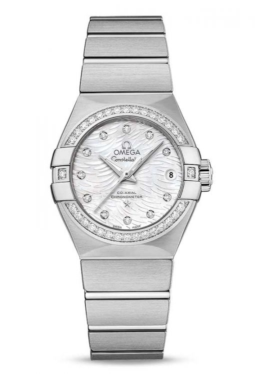 Omega Constellation Co-Axial Stainless Steel & Diamonds Ladies Watch, 123.15.27.20.55.003