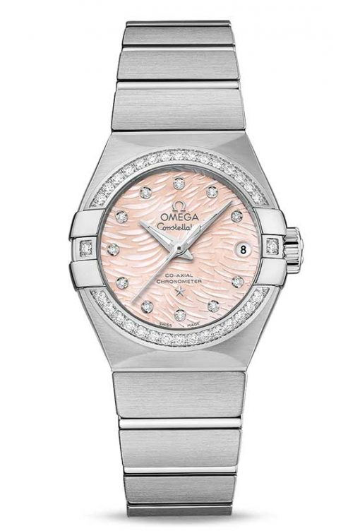 Omega Constellation Co-Axial Stainless Steel & Diamonds Ladies Watch, 123.15.27.20.57.002