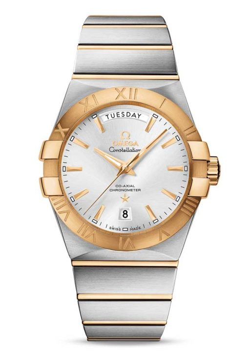 Omega Constellation Co-Axial Day-Date 18K Yellow Gold & Stainless Steel Men's Watch, 123.20.38.22.02.002