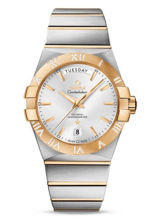 Omega Constellation Co-Axial Day-Date 18K Yellow Gold & Stainless Steel & Diamonds Men's Watch, 123.25.38.22.02.002