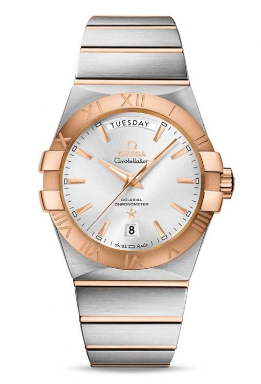 Omega Constellation Co-Axial Day-Date 18K Red Gold & Stainless Steel Men's Watch, 123.20.38.22.02.001