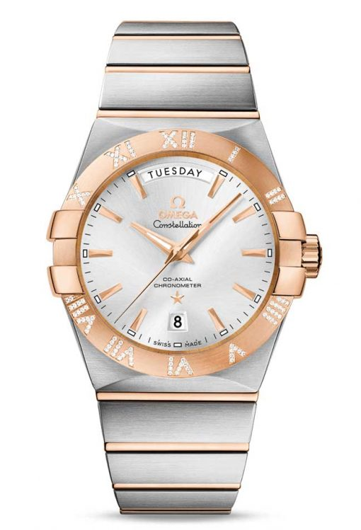 Omega Constellation Co-Axial Day-Date 18K Red Gold & Stainless Steel & Diamonds Men's Watch, 123.25.38.22.02.001