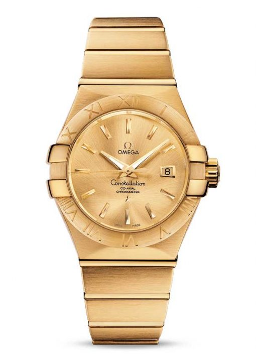Omega Constellation Co-Axial 18K Yellow Gold Ladies Watch, 123.50.31.20.08.001