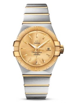 Omega Constellation Co-Axial 18K Yellow Gold & Stainless Steel Ladies Watch 123.20.31.20.08.001