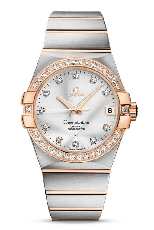 Omega Constellation Co-Axial 18K Yellow Gold & Stainless Steel & Diamonds Unisex Watch, 123.25.38.21.52.001