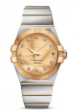 Omega Constellation Co-Axial 18K Yellow Gold & Stainless Steel & Diamonds Unisex Watch 123.20.38.21.58.001