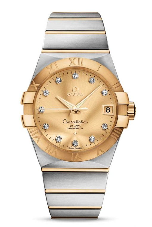 Omega Constellation Co-Axial 18K Yellow Gold & Stainless Steel & Diamonds Unisex Watch, 123.20.38.21.58.001