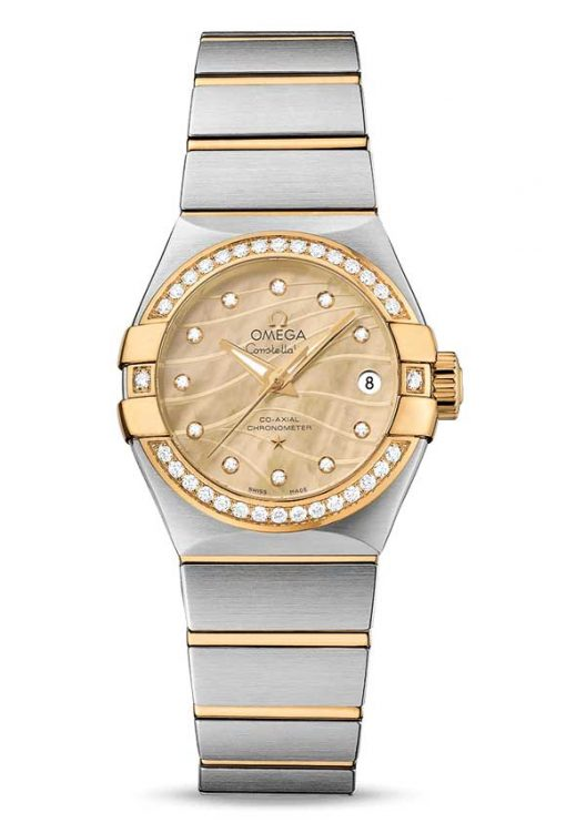 Omega Constellation Co-Axial 18K Yellow Gold & Stainless Steel & Diamonds Ladies Watch, 123.25.27.20.57.002