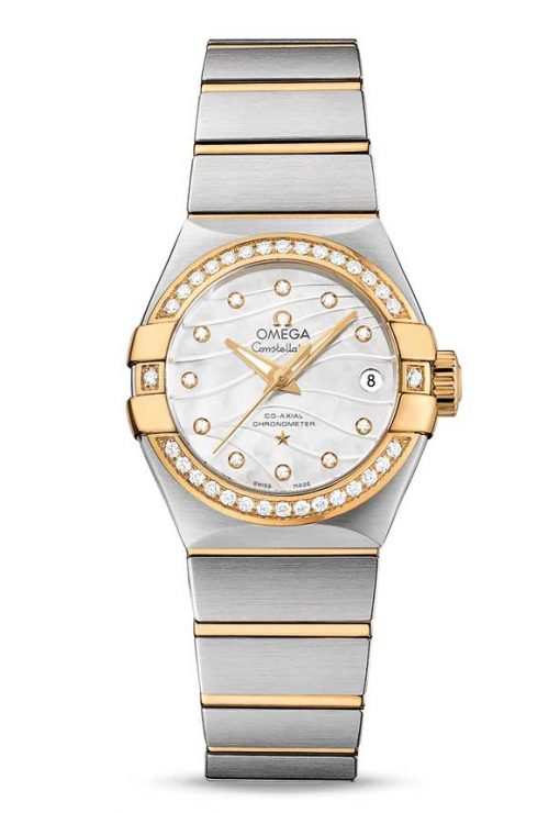 Omega Constellation Co-Axial 18K Yellow Gold & Stainless Steel & Diamonds Ladies Watch, 123.25.27.20.55.004