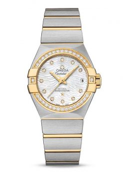 Omega Constellation Co-Axial 18K Yellow Gold & Stainless Steel & Diamonds Ladies Watch 123.25.27.20.55.007