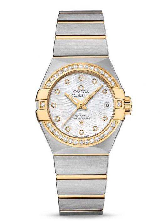 Omega Constellation Co-Axial 18K Yellow Gold & Stainless Steel & Diamonds Ladies Watch, 123.25.27.20.55.007
