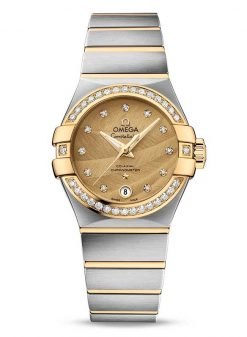 Omega Constellation Co-Axial 18K Yellow gold & Stainless Steel & Diamonds Ladies Watch 123.25.27.20.58.002