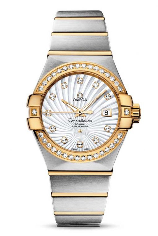 Omega Constellation Co-Axial 18K Yellow Gold & Stainless Steel & Diamonds Ladies Watch, 123.25.31.20.55.002