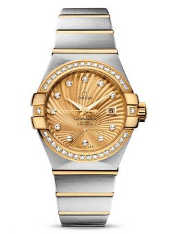 Omega Constellation Co-Axial 18K Yellow Gold & Stainless Steel & Diamonds Ladies Watch 123.25.31.20.58.001