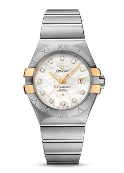 Omega Constellation Co-Axial 18K Yellow Gold & Stainless Steel & Diamonds Ladies Watch 123.20.31.20.55.004