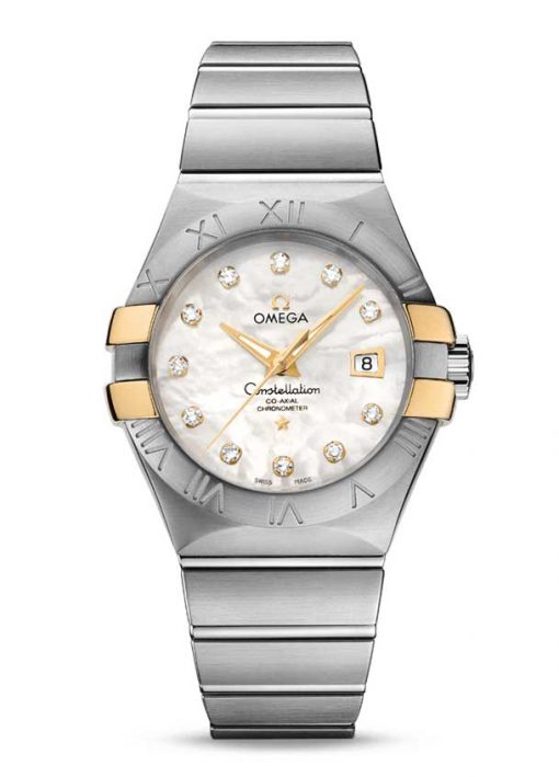Omega Constellation Co-Axial 18K Yellow Gold & Stainless Steel & Diamonds Ladies Watch, 123.20.31.20.55.004