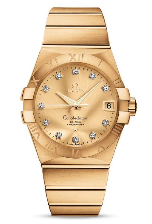 Omega Constellation Co-Axial 18K Yellow Gold & Diamonds Unisex Watch, 123.50.38.21.58.001