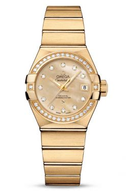 Omega Constellation Co-Axial 18K Yellow Gold & Diamonds Ladies Watch 123.55.27.20.57.002
