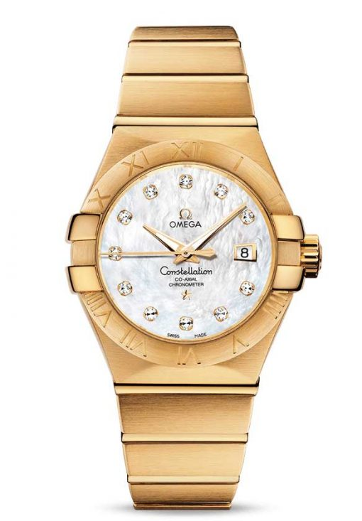 Omega Constellation Co-Axial 18K Yellow Gold & Diamonds Ladies Watch, 123.50.31.20.55.002