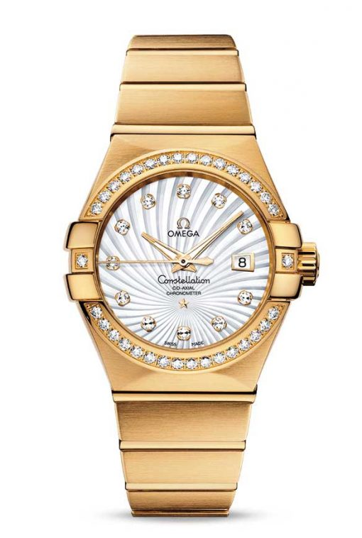 Omega Constellation Co-Axial 18K Yellow Gold & Diamonds Ladies Watch, 123.55.31.20.55.002
