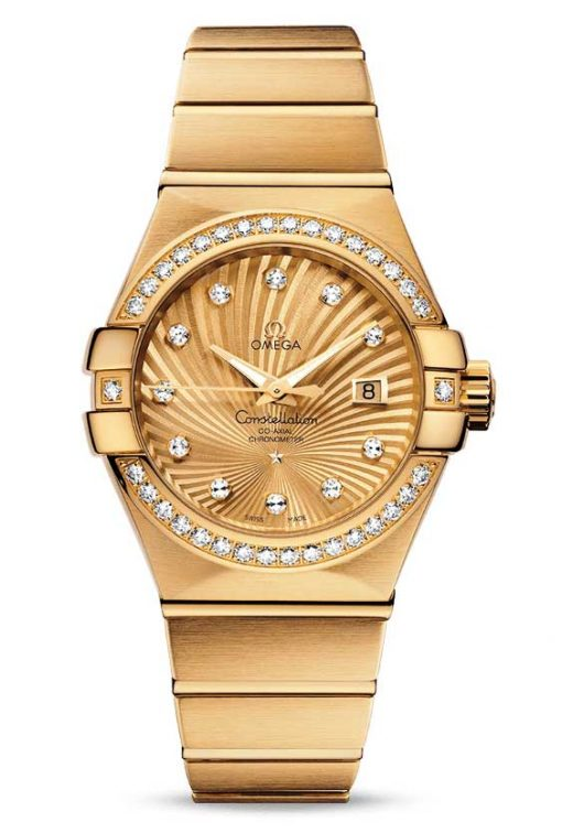 Omega Constellation Co-Axial 18K Yellow Gold & Diamonds Ladies Watch, 123.55.31.20.58.001