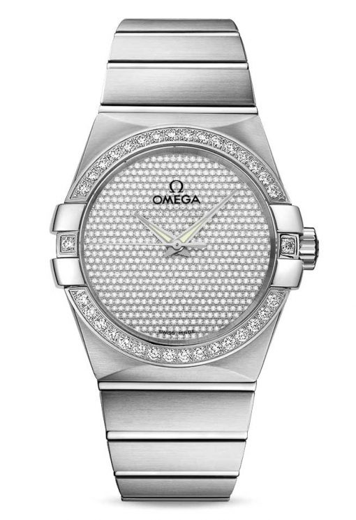 Omega Constellation Co-Axial 18K White Gold & Diamonds Unisex Watch, 123.55.38.20.99.001