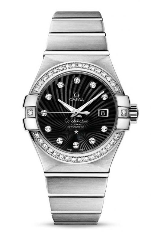 Omega Constellation Co-Axial 18K White Gold & Diamonds Ladies Watch, 123.55.31.20.51.001