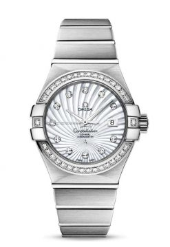 Omega Constellation Co-Axial 18K White Gold & Diamonds Ladies Watch 123.55.31.20.55.003