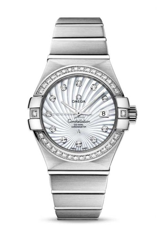 Omega Constellation Co-Axial 18K White Gold & Diamonds Ladies Watch, 123.55.31.20.55.003