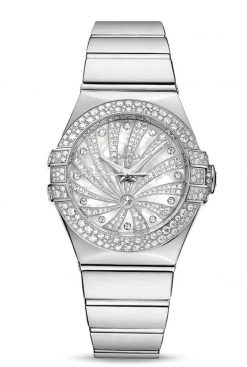 Omega Constellation Co-Axial 18K White Gold & Diamonds Ladies Watch 123.55.31.20.55.011