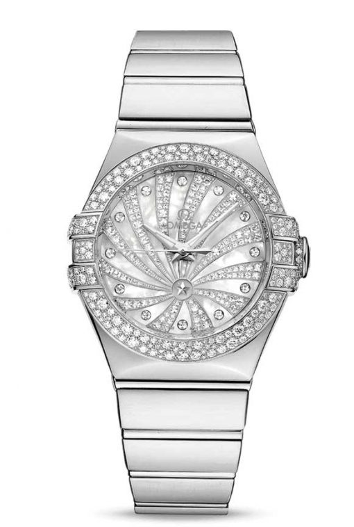 Omega Constellation Co-Axial 18K White Gold & Diamonds Ladies Watch, 123.55.31.20.55.011