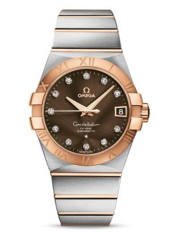 Omega Constellation Co-Axial 18K Red Gold & Stainless Steel & Diamonds Unisex Watch 123.20.38.21.63.001