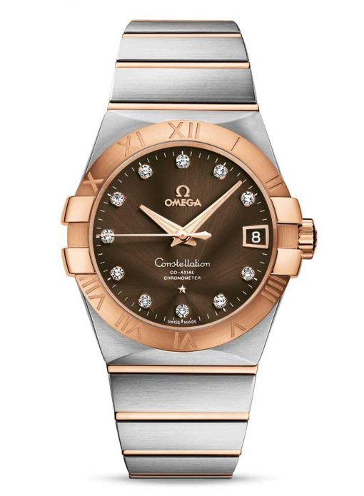 Omega Constellation Co-Axial 18K Red Gold & Stainless Steel & Diamonds Unisex Watch, 123.20.38.21.63.001